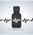 pills bottle with heartbeat icon cardio vector image vector image