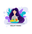 pretty girl with healthy food eating healthy food vector image vector image