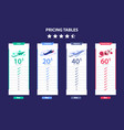 pricing table 4 different plane template dark vector image vector image