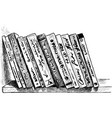 printed books on a bookshelf vector image vector image