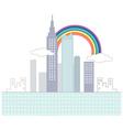 Rainbow Cityscape Scene vector image vector image