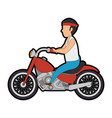 rough motorcyclist avatar character vector image