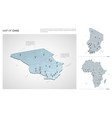 set chad country isometric 3d map chad map vector image