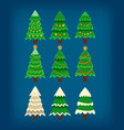 set of flat 9 christmas tree vector image vector image