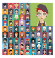 set people icons in flat style with faces 22 a vector image vector image