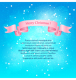 Snowfall Pink Ribbon Merry Christmas vector image