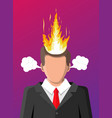 stressed businessman with hair on fire vector image