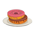 sweet donuts on dish vector image vector image
