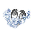 two birds hand drawn in vintage style with flowers vector image