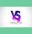 vs v s purple letter logo design with liquid vector image vector image