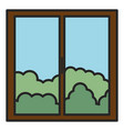 window house with day outside view vector image vector image