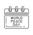 world peace day calendar vector image vector image