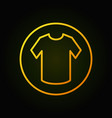 yellow t-shirt in circle line icon or sign vector image