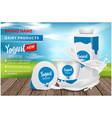 yogurt ads appetizing square plastic bottle and vector image vector image