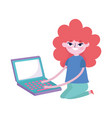 young woman typing laptop computer social media vector image