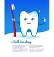 Happy tooth with toothbrush vector image