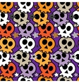 Seamless colorful background with skulls vector image