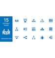 15 organization icons vector image vector image