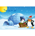 a penguin and sleigh with a snowman near the vector image vector image