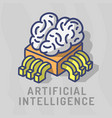 artificial intelligence themed design hand drawn vector image vector image