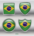 brazil flag in 4 shapes collection vector image