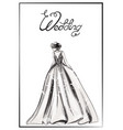 bride silhouette line art beautiful long vector image vector image