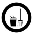 bucket and broom icon black color in circle vector image