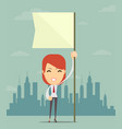 businesswoman holding white flag place for text vector image vector image