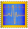 Cardiogram on stamp vector image vector image