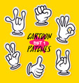 cartoon patches with human hands vector image