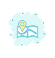 cartoon pin on the map icon in comic style map vector image