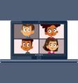 children students attending online school vector image