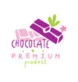 chocolate premium product logo design emblem for vector image vector image