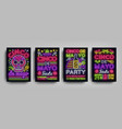 cinco de mayo collection posters in neon style vector image