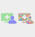 computer patient mosaic icon triangles vector image vector image