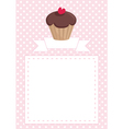 Cupcake card on pink polka dots background vector image vector image