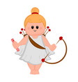 cute cupid girl icon with bow and arrows vector image vector image