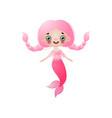 cute smiling mermaid girl with pink long hair vector image vector image