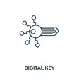 digital key outline icon monochrome style design vector image vector image