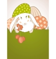 Easter bunny with tulips vector image vector image