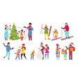 family winter activities enjoying vacations vector image vector image