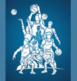 group basketball players action cartoon sport vector image vector image