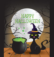 happy halloween card with cauldron and cat vector image vector image