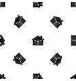 house pattern seamless black vector image vector image