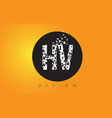 hv h v logo made of small letters with black vector image vector image