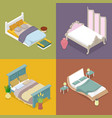 isometric double king size bed bedroom furniture vector image vector image