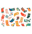 kids socks cute colorful cotton socks textile vector image