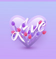 love text floral design vector image vector image