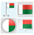 Madagascar flag - sticker button label vector image vector image