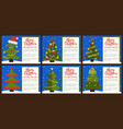 merry christmas postcards set vector image